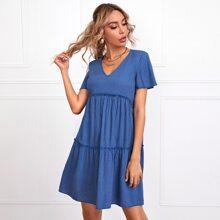 V-neck Flutter Sleeve Frill Trim Dress
