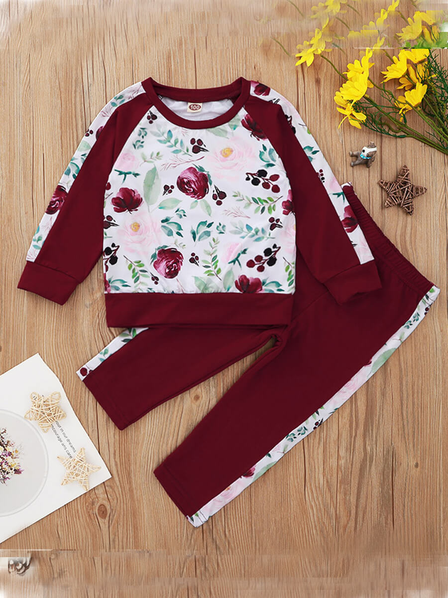 LW Lovely Trendy O Neck Plants Print Wine Red Girl Two-piece Pants Set