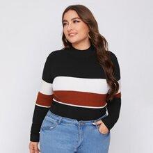 Plus Mock Neck Color Block Sweater