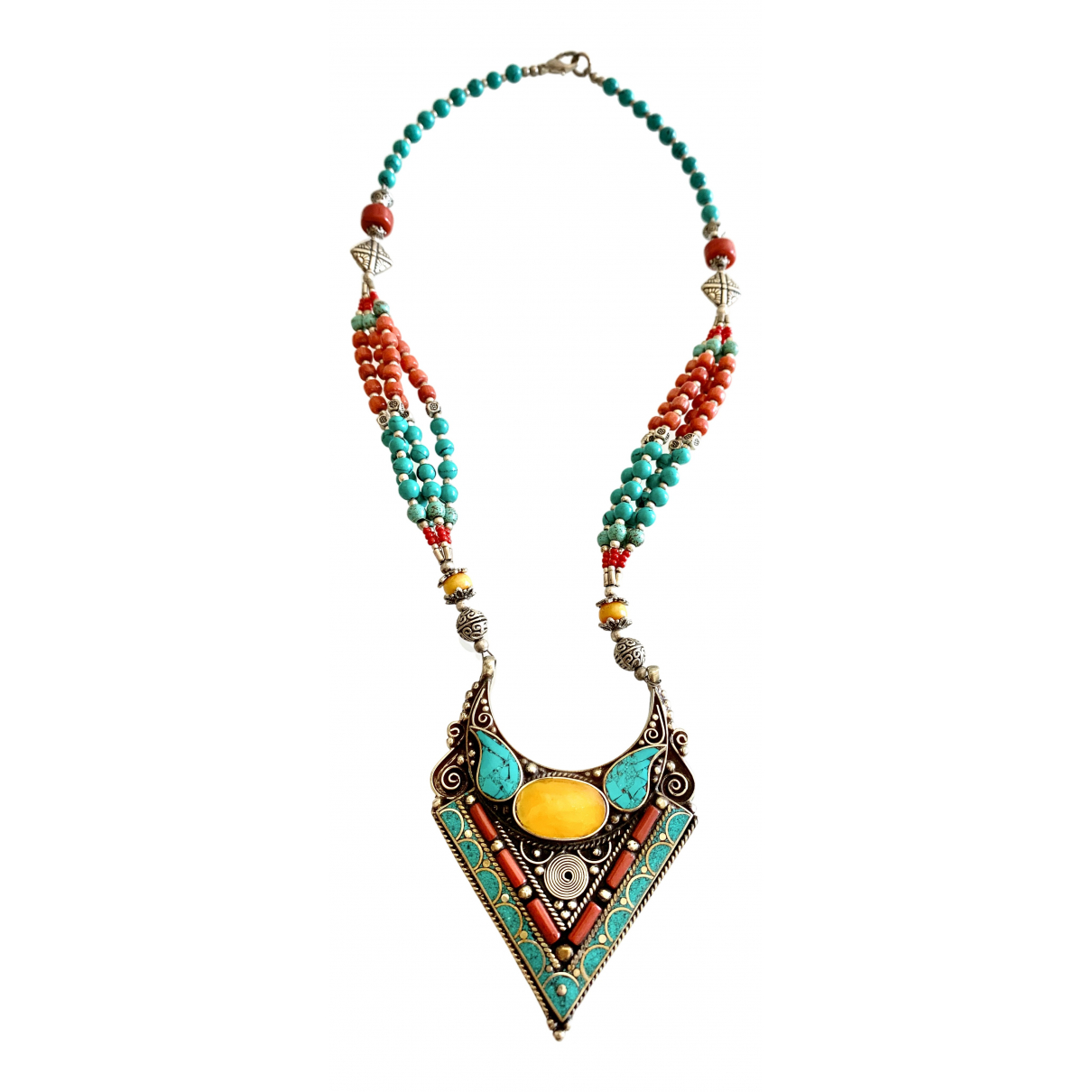 Non Signé / Unsigned \N Turquoise Metal Long necklace for Women \N