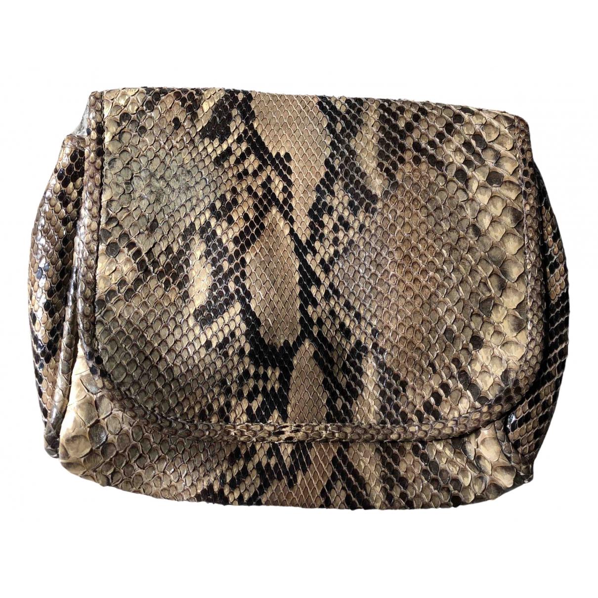 - Pochette   pour femme en python - ecru