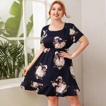 Plus Floral Print Ruffle Hem Dress