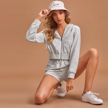 Zip Up Hoodie With Track Shorts PJ Set