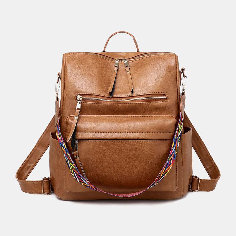 Women Faux Leather Solid Shoulder Bag Backpack