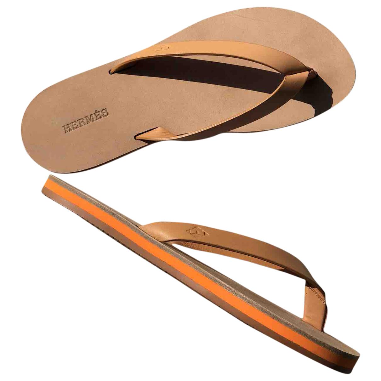 Hermes - Sandales   pour femme en cuir - camel