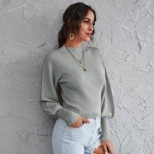 Mock Neck Lantern Sleeve Solid Sweater