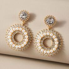 1 Paar Strass graviert Faux Perle Perlen Runde Ohrringe
