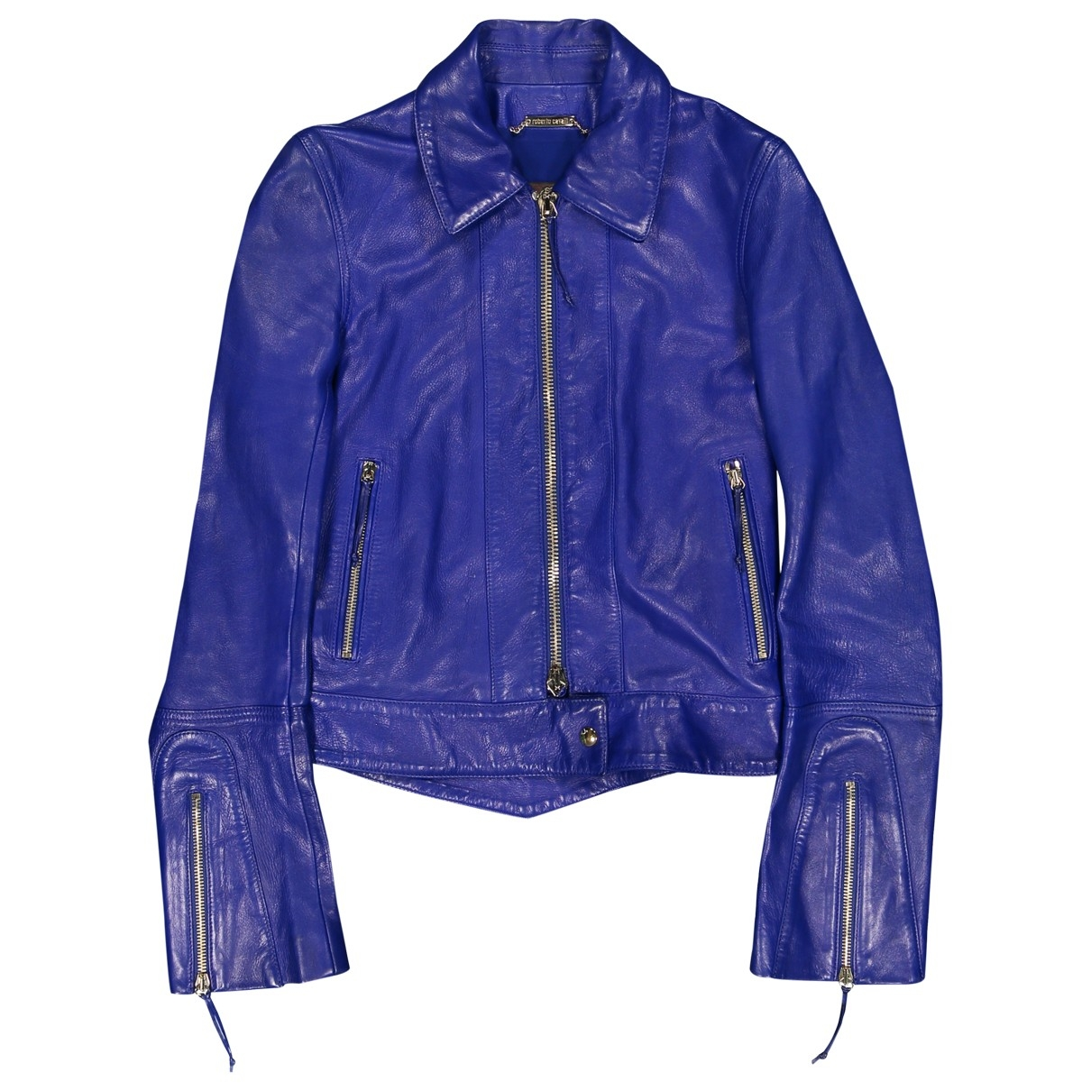 Roberto Cavalli \N Blue Leather Leather jacket for Women 38 IT
