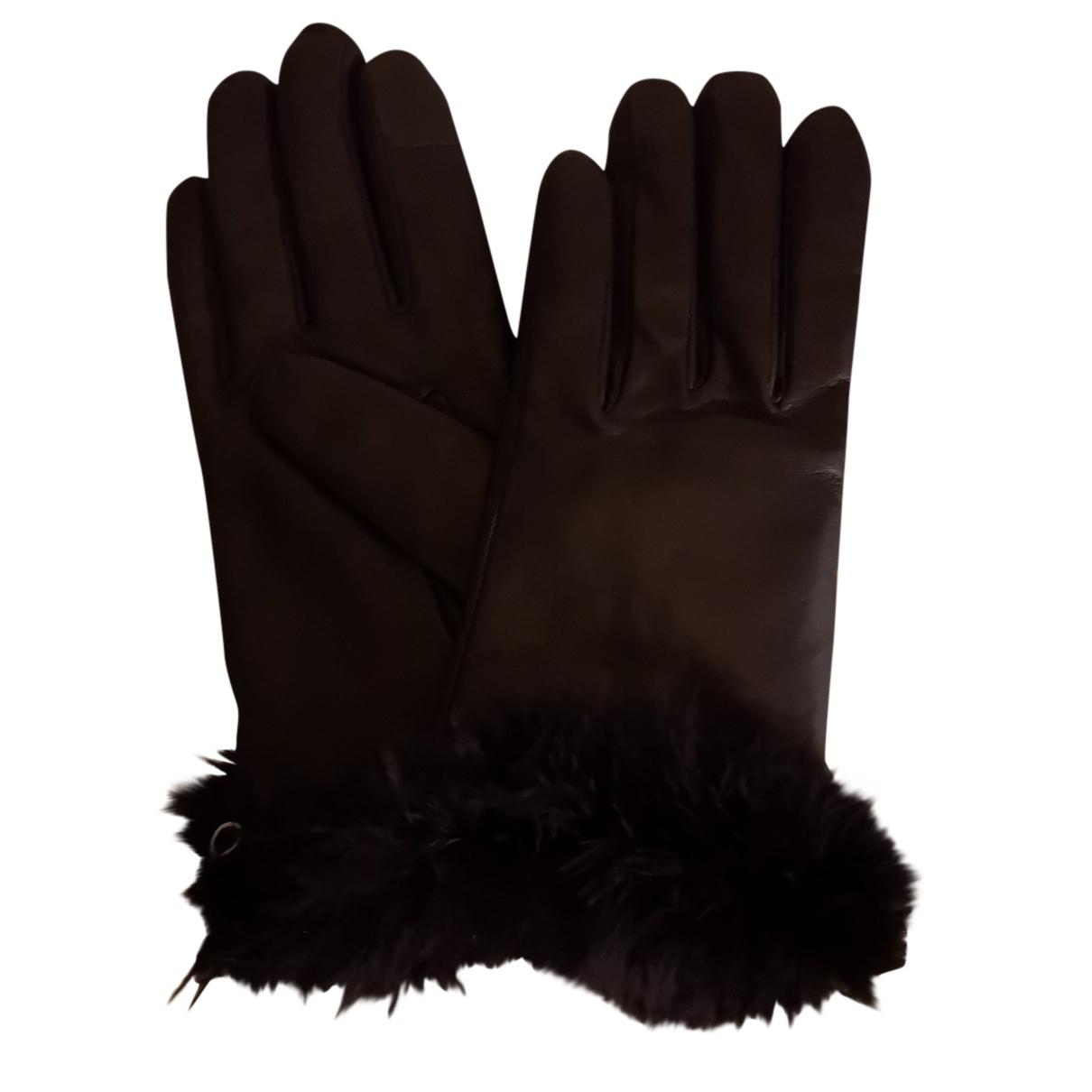 Agnelle \N Handschuhe in  Schwarz Leder