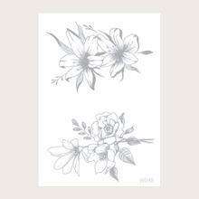 1 hoja pegatina tatuaje con patron de flor