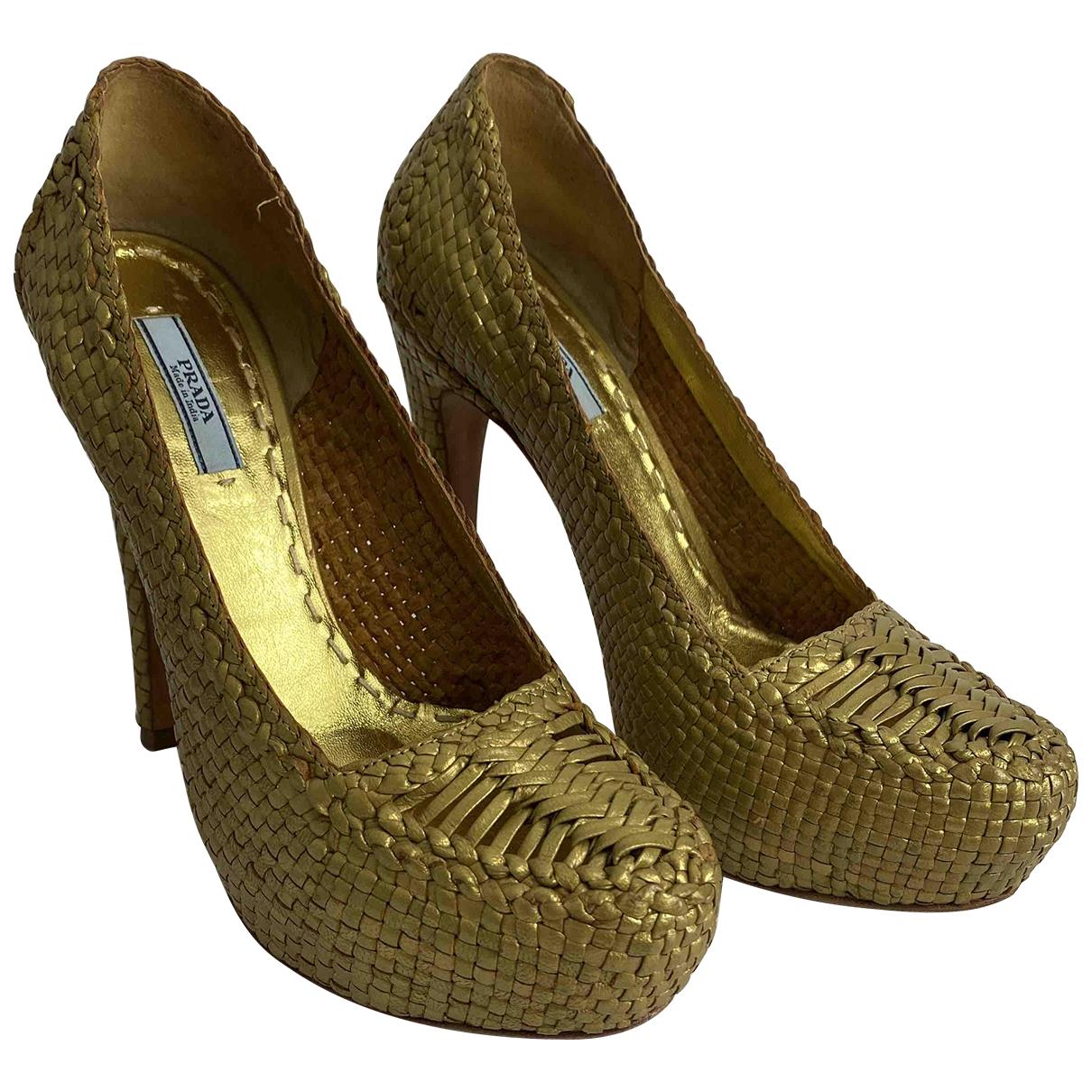 Prada \N Gold Leather Heels for Women 37 EU