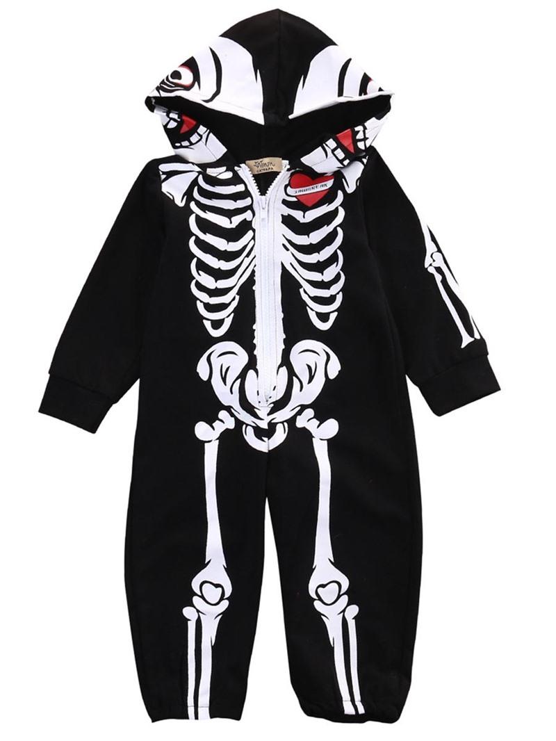 Ericdress Skull Print Zipper Hooded Baby Boy's Clothing