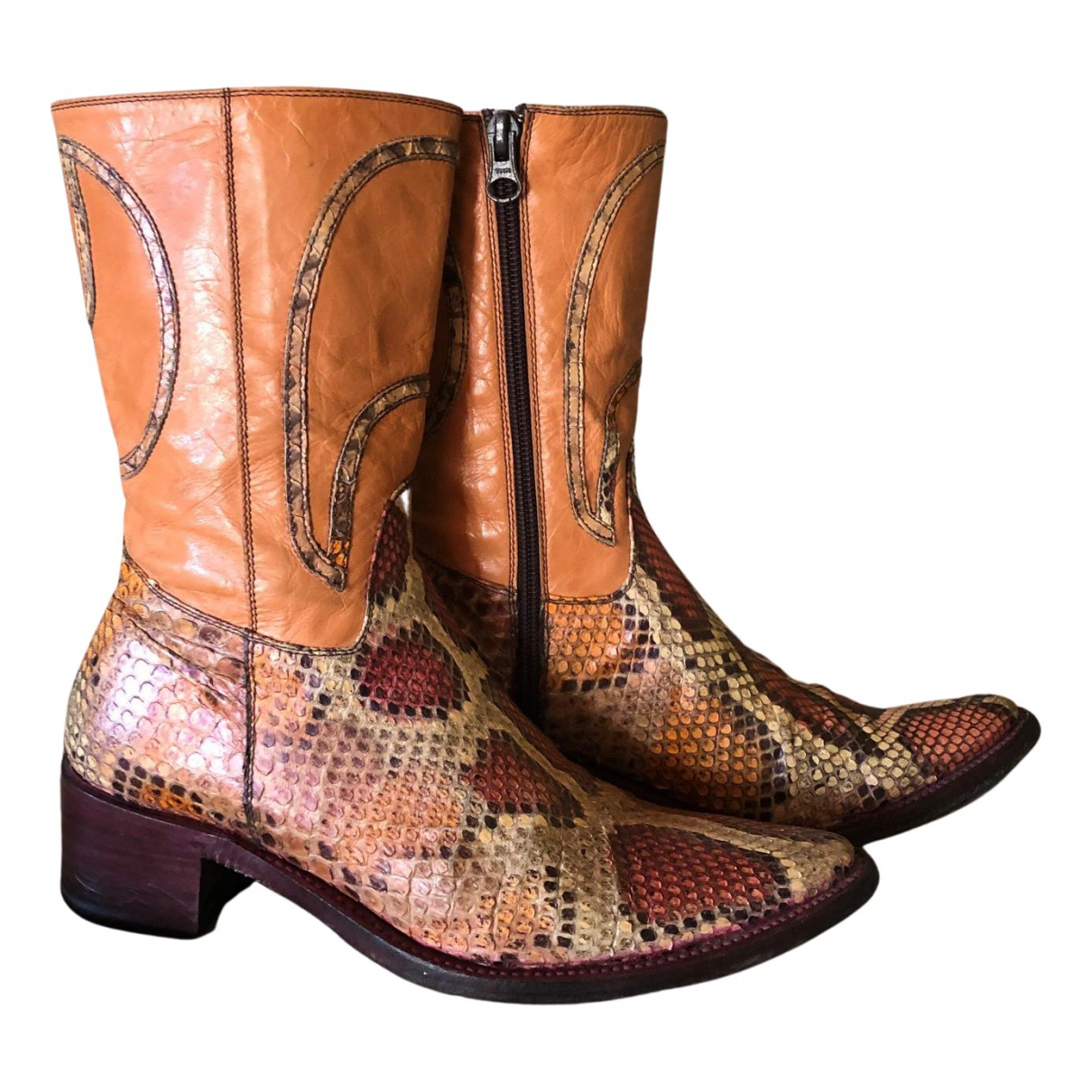- Boots   pour femme en python - multicolore