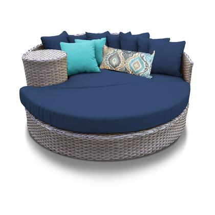 OASIS-NAVY Oasis Circular Sun Bed - Outdoor Wicker Patio Furniture with 2 Covers: Grey and
