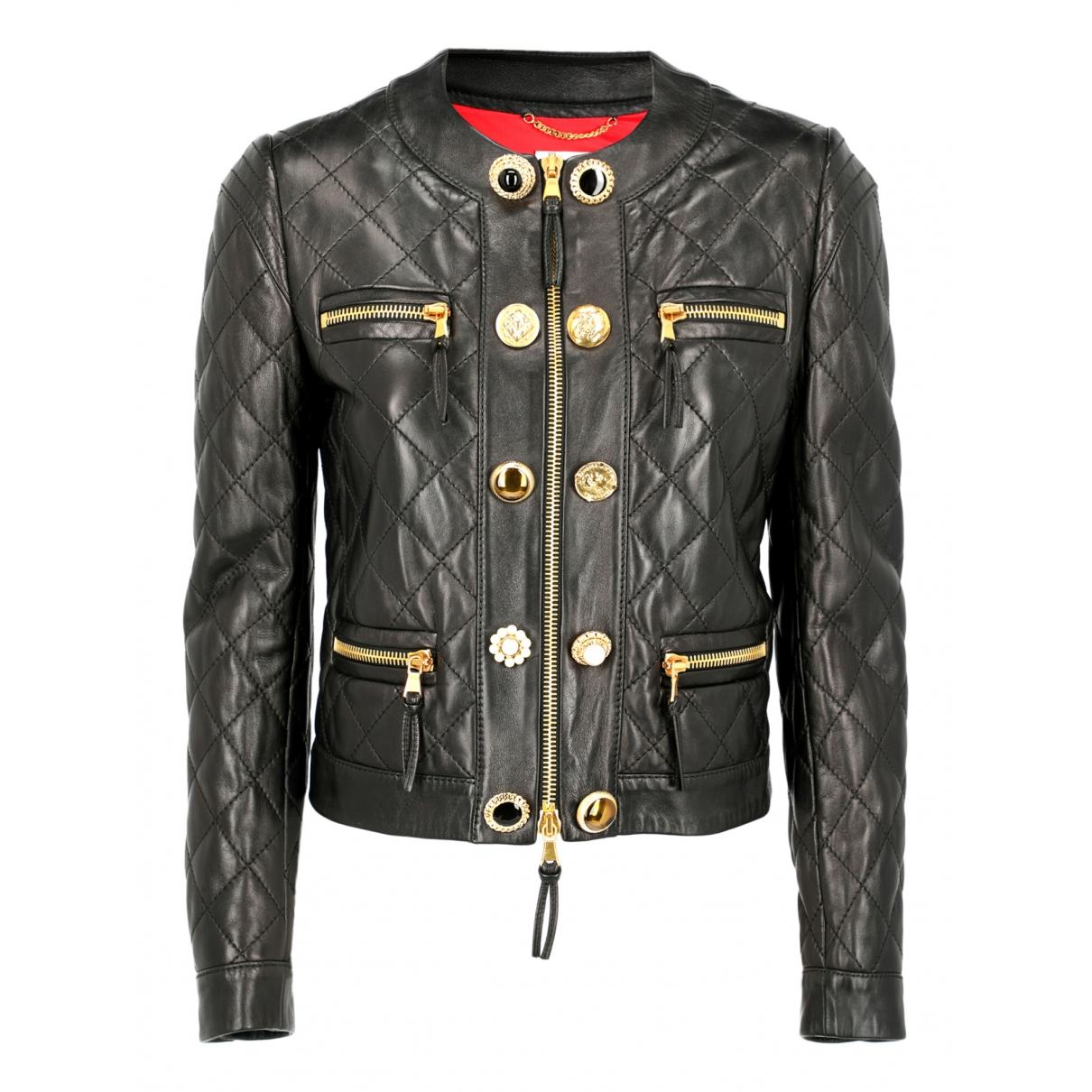 Moschino - Veste   pour femme en cuir - noir