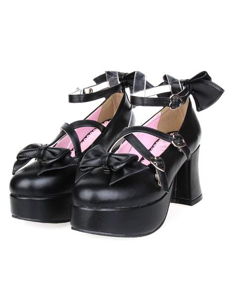 Milanoo Matte Black Lolita Heels Shoes Platform Shoes Ankle Strap  Buckles Bows