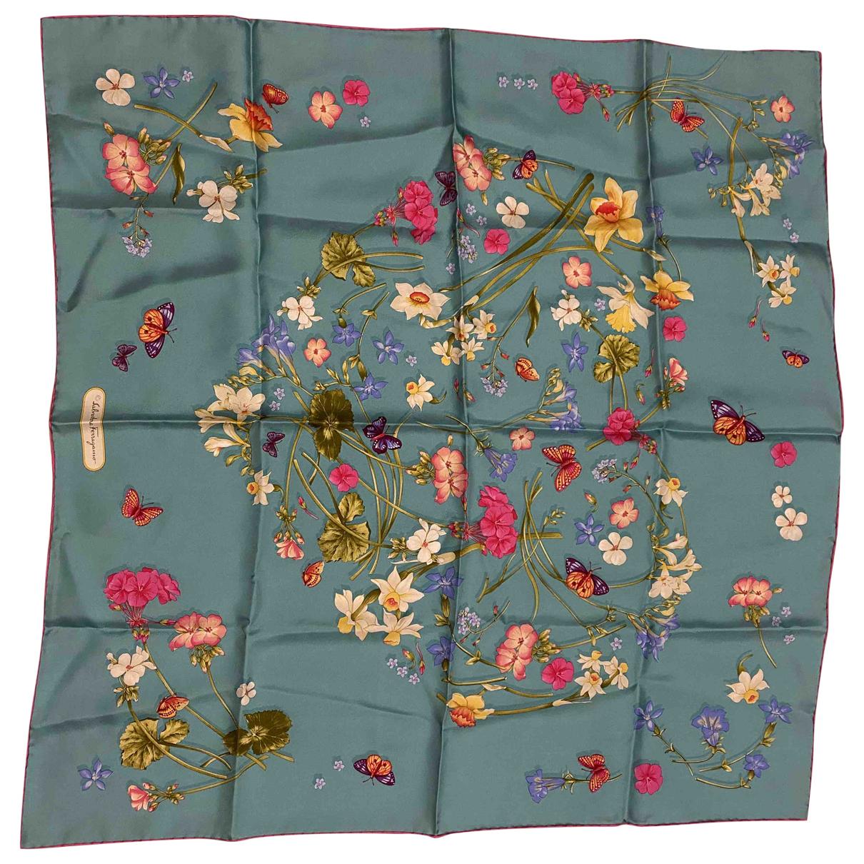 Salvatore Ferragamo - Foulard   pour femme en soie - turquoise