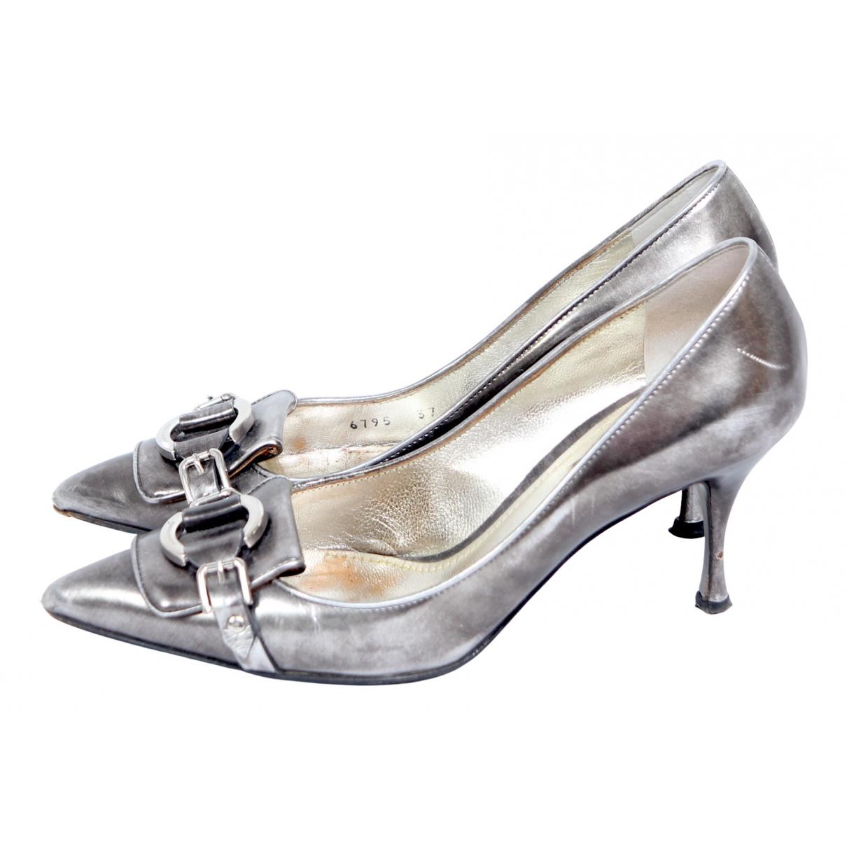 Dolce & Gabbana N Grey Leather Heels for Women 37 EU