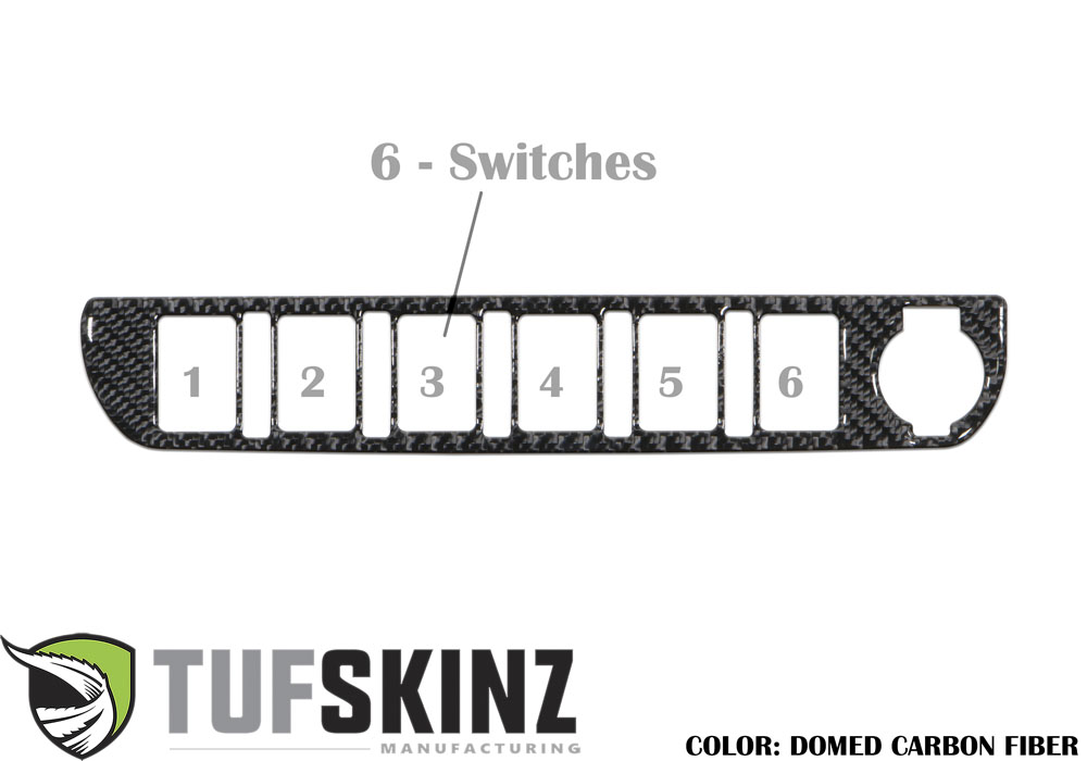 Tufskinz TAC024-DCF-G Center Dash Switch Panel with 6-Switches Fits 16-up Toyota Tacoma 1 Piece Kit Domed Carbon Fiber