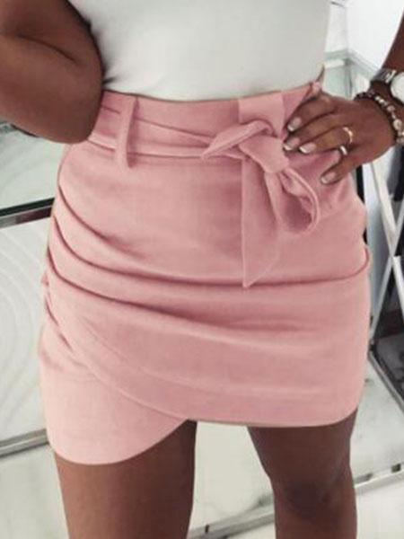 Milanoo Women Mini Skirt Ruched Sash Wrap Skirt