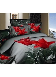 3D Red Tulip Printed Cotton 4-Piece Bedding Sets/Duvet Covers