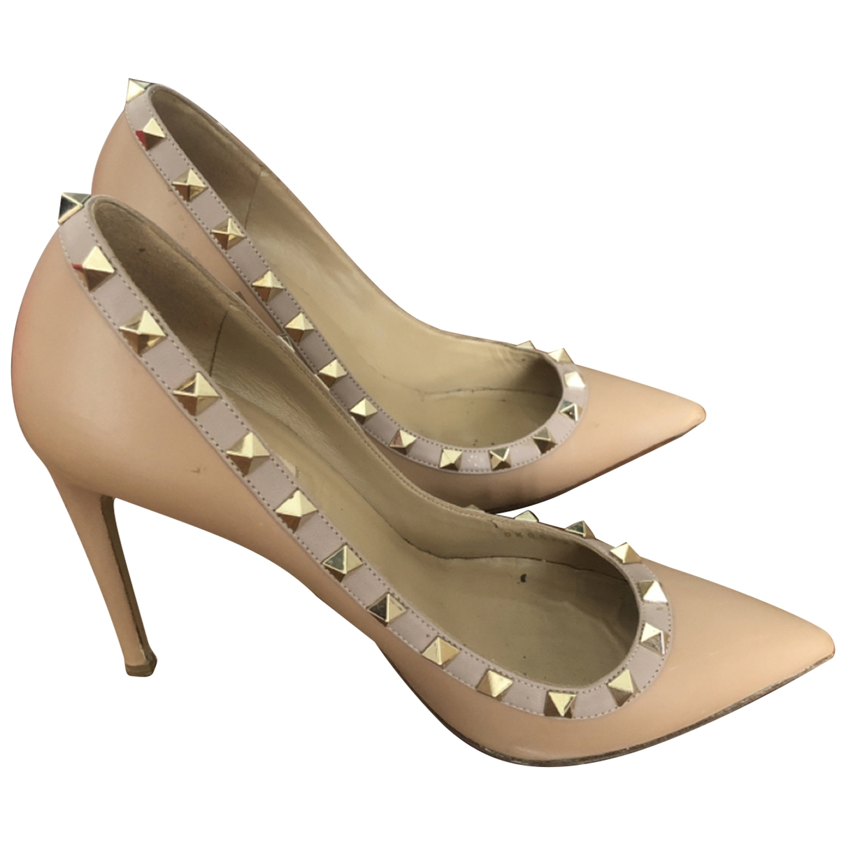 Valentino Garavani Rockstud Beige Leather Heels for Women 38 EU