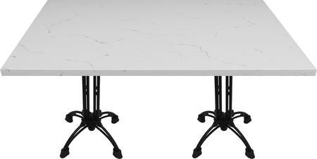 Q401 30X60-CA18-27H 30x60 Carrera White Quartz Tabletop with 20 Ornate Matte Black Bar Height Table