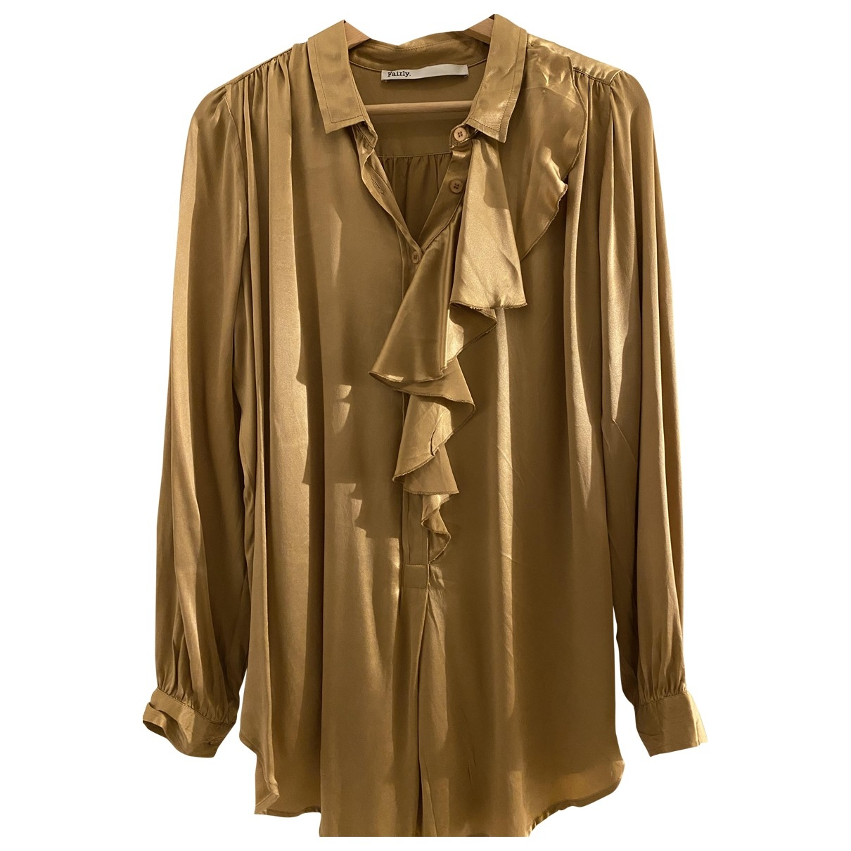 Non Signé / Unsigned Oversize Gold Silk  top for Women M International