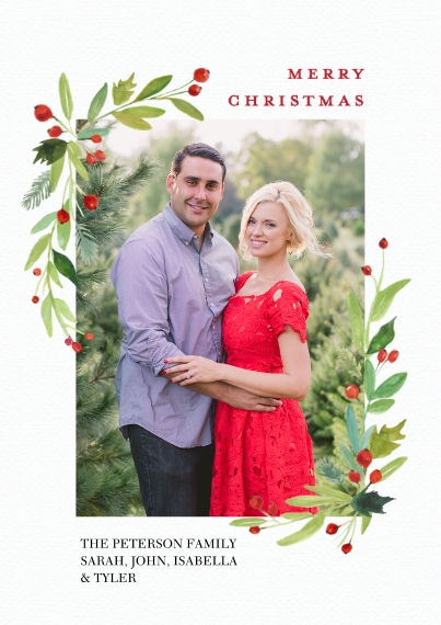 Christmas Photo Cards Flat Matte Photo Paper Cards with Envelopes, 5x7, Card & Stationery -Christmas Watercolor Floral by Tumbalina