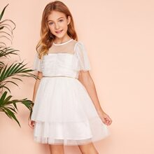 Girls Woven Tape Detail Ruched Front Mesh Overlay Dress