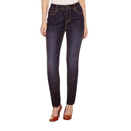 St. John's Bay Womens Mid Rise Skinny Fit Jean, 2 Petite , Blue