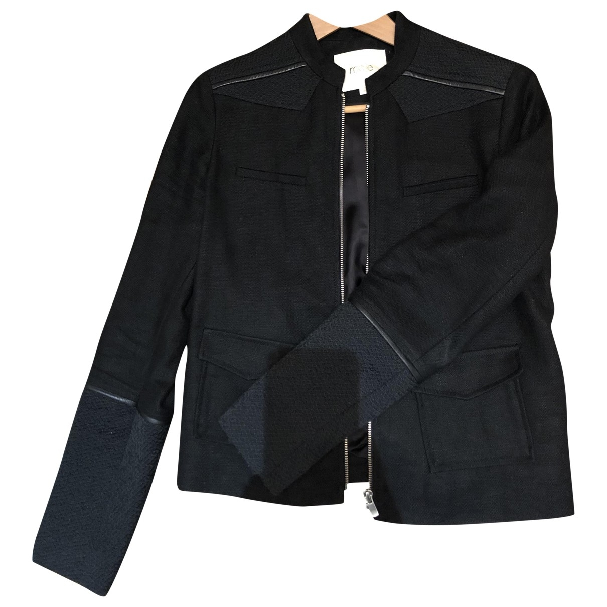 Maje \N Black Cotton jacket for Women 38 FR