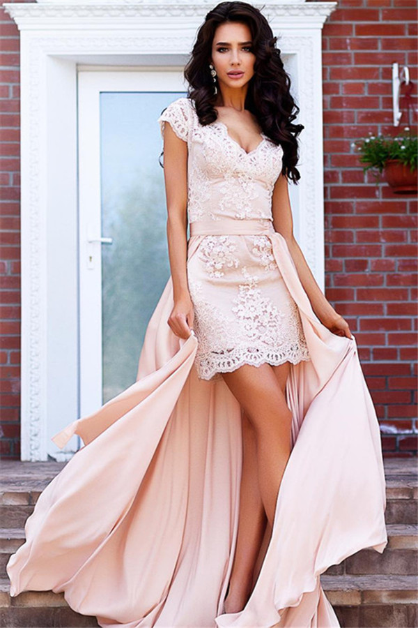 Stunning Cap Sleeve Lace Detachable Short Prom Dress Homecoming Dress BA7167