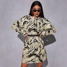 Pullover Kleid mit Grafik, Kordelzug und Kapuze ohne Guertel