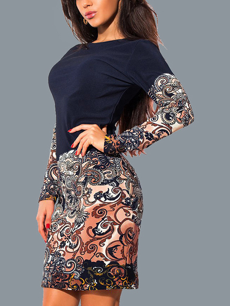 Yoins Navy Paisley Patchwork Round Neck Long Sleeves Dress
