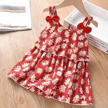 Toddler Girls Allover Floral Bow Front Cami Top