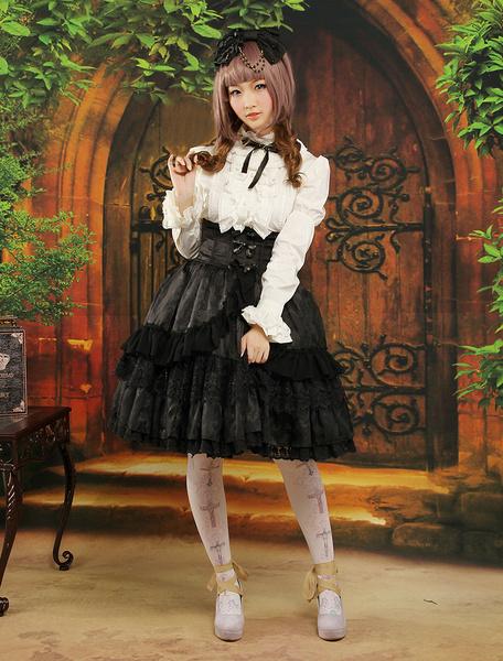 Milanoo Gothic Style Black Ruffles Jacquard Lolita Skirts