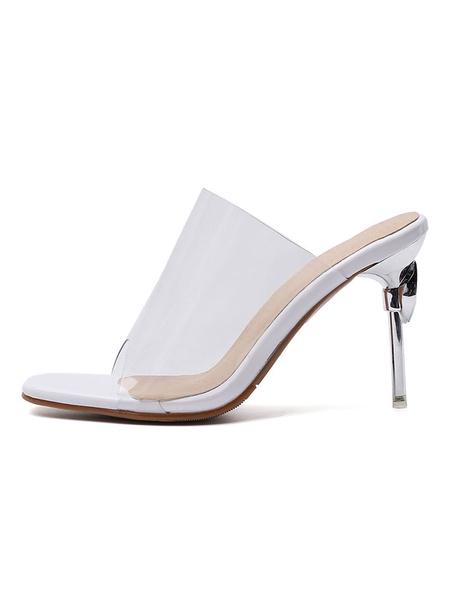 Milanoo Women\'s Transparente Clear Slides White Sandals Square Toe Stiletto Heel Summer Shoes