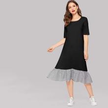 Striped Ruffle Hem Tee Dress
