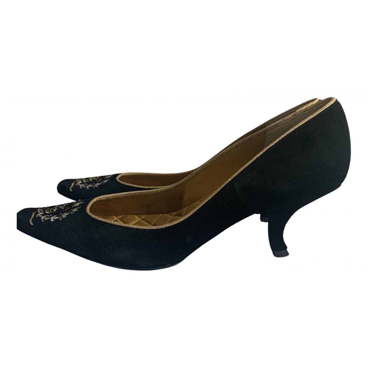 Dolce & Gabbana N Black Velvet Heels for Women 39 EU