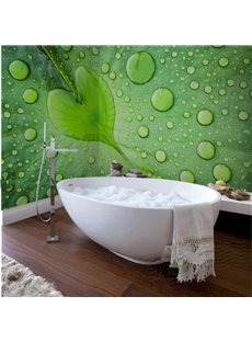 Green Water Drops on the Leaf Design Waterproof 3D Bathroom Wall Murals