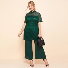 Plus Stand Collar Contrast Lace Top With Pants