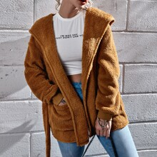 Hooded Belted Teddy Coat