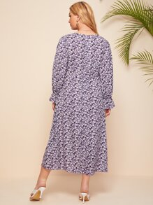 Plus Flounce Sleeve Button Front Ditsy Floral Dress