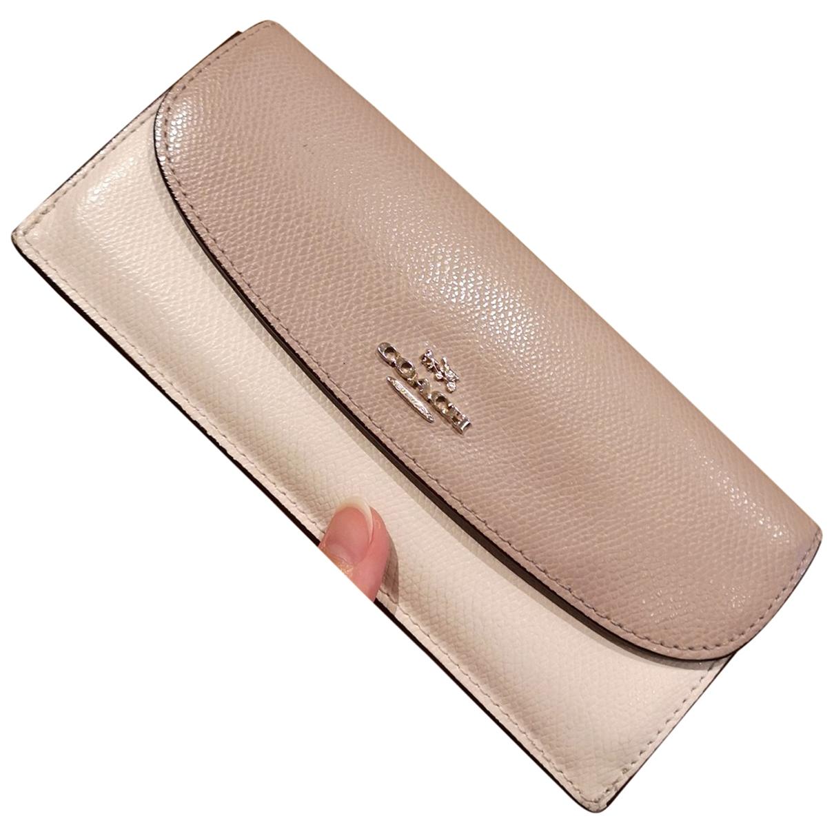 Coach - Portefeuille   pour femme en cuir - beige