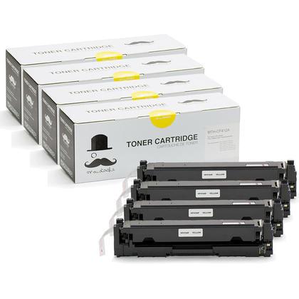 Compatible HP 410A CF412A Yellow Toner Cartridge - Moustache - 4/Pack