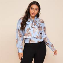 Plus Tie Neck Drop Shoulder Floral Top