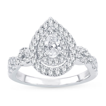 Womens 1 CT. T.W. Lab Grown White Diamond 10K White Gold Engagement Ring, 9 , No Color Family