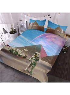 Pyramids and Astronauts 3D Warm Comforter 3-Piece Soft Comforter Sets with 2 Pillowcases