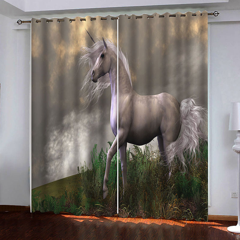 Room Darkening 3D Animal Curtains 2 Panel Set 200 ㎡ Thick Polyester Silky Satin Polyester Blend Provides an Elegant Look and Silky Soft Touch Good Sha